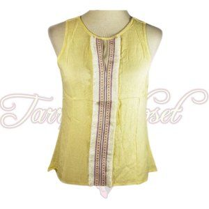 Valentine Yellow Scoop Neck Back Lace Top Sz Small
